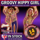 FANCY DRESS COSTUME ~ ADULT LADIES 1970s HIPPIE GIRL DRESS MED 12-14